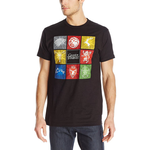 Model wearing short-sleeve black crew neck t-shirt featuring eight house sigils such as Stark, Targaryen, Lannister, Baratheon, and Game of Thrones logo