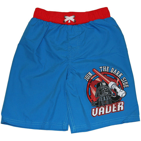 Blue swim trunks with Darth Vader and lightsaber with Join the Dark Side text and red elastic waist