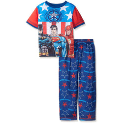 Boys two-piece pajama set with Justice League short-sleeve crew neck t-shirt and matching blue sleep pants with allover Justice League logo