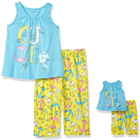 Girls two piece pajama set with blue sleeveless CUTE tank top and yellow allover anchor print pants with matching tiny pajama set for doll