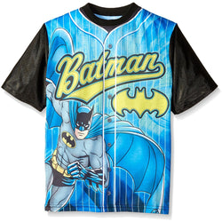 Short-sleeve jersey athletic style button-up t-shirt in turquoise blue with Batman character and logo with black sleeves