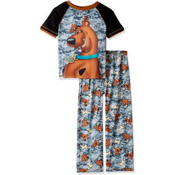 Boys two piece pajama set with short-sleeve gray camo t-shirt featuring Scooby Doo and matching gray camo allover print pants