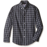 Gray and black boys long-sleeve collared button-up plaid shirt
