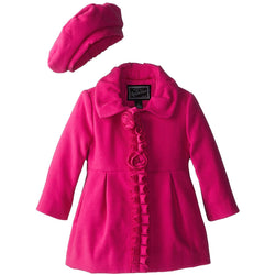 Rothschild Little Girls' Faux Wool Rosette and Ruffle Coat