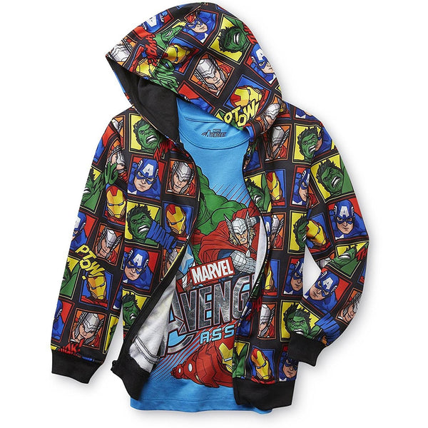 Black hooded hoodie sweatshirt with Marvel Avengers comic book characters and matching short-sleeve blue Avengers t-shirt.