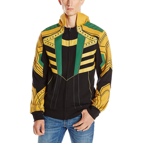 Model wearing black zip-up hooded sweatshirt with gold and green Loki costume design