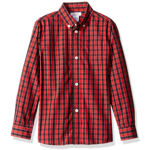 Boys red long-sleeve, collared, button-up plaid dress shirt