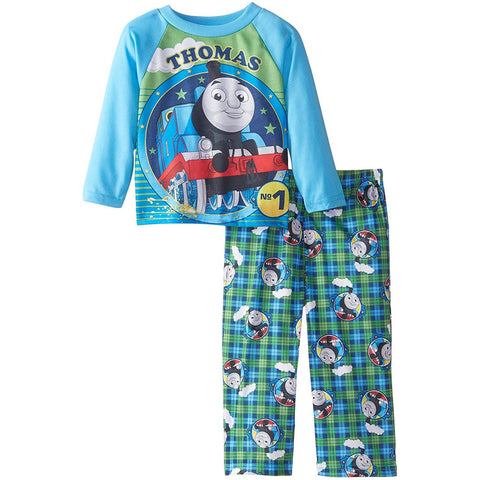 Boys two piece pajama set with long-sleeve Thomas the Tank Engine sleep shirt and matching allover print lounge pants