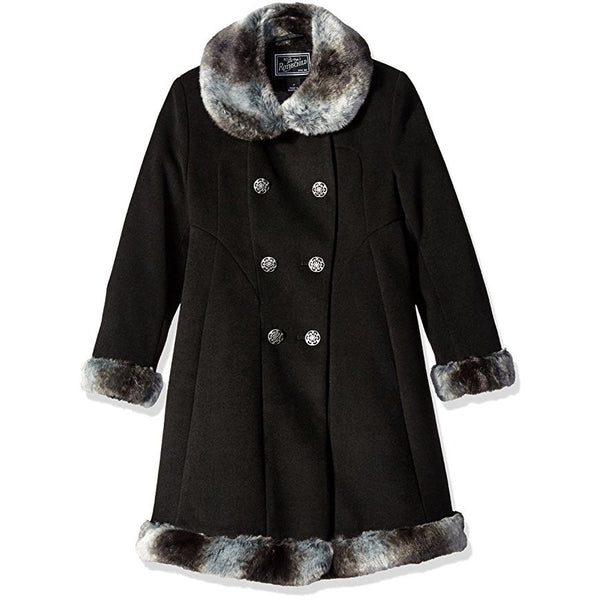 Black long dress coat with white and brown faux fur on collar, cuffs, and hem.