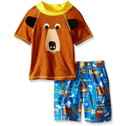 Boys rash guard set with brown bear short-sleeve t-shirt and matching blue swim trunks
