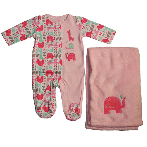 Pink and colorful long-sleeve footed onesie with matching pink elephant baby blanket.