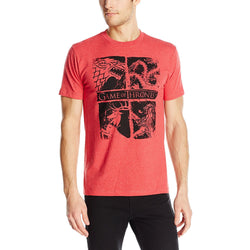 Model showing short-sleeve crew neck t-shirt in red with four sigils of House Stark, Targaryen, Baratheon, and Lannister