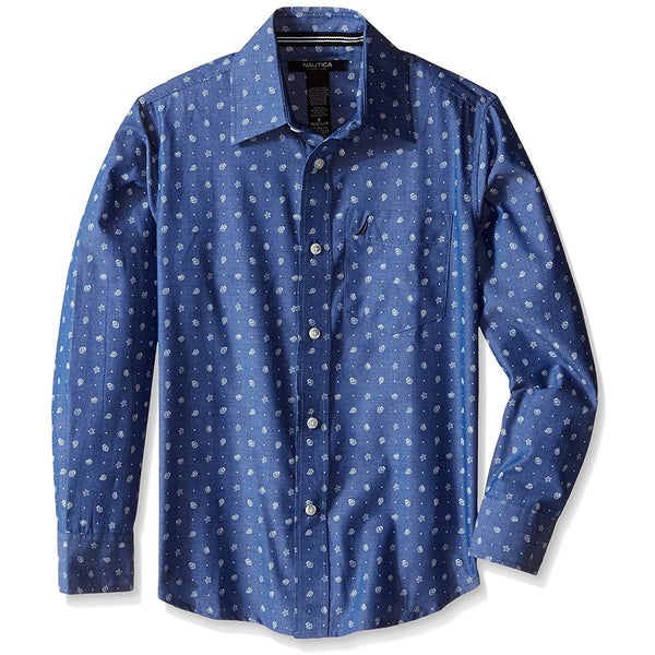 Boys dark blue and white dot collared button-up long sleeve shirt