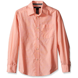 Boys peach collared button-up long sleeve dress shirt with front pocket