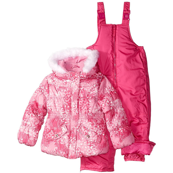 Girls pink front-zipper winter jacket with faux-fur lined hood and matching pink bib overall snowpants