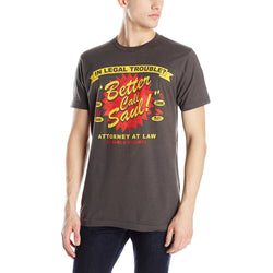 Gray short-sleeve crewneck t-shirt with red and yellow In Legal Trouble Better Call Saul design.