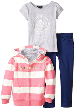 Nautica Little Girls Three Piece Set Hoody with Knit Top and Jean