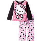 Girls matching pajama set with long-sleeve pink and black Hello Kitty sleep shirt and matching white and pink long pants