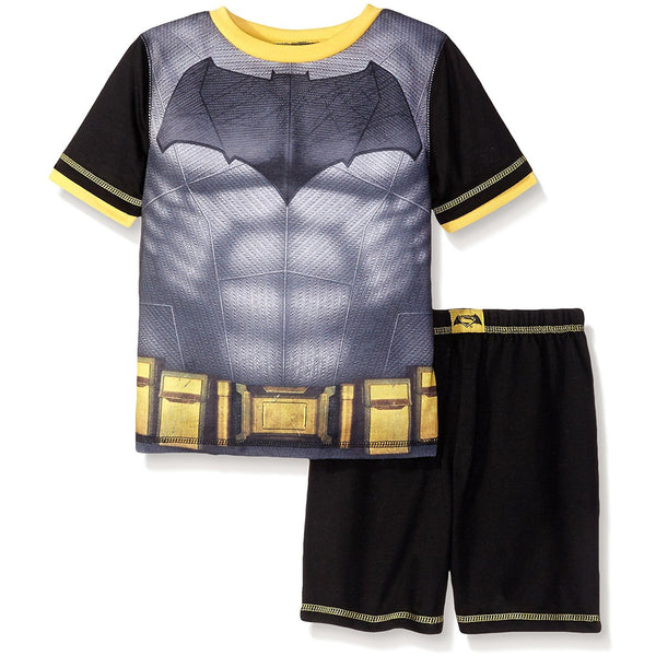 Black, gray, and yellow short-sleeve Batman t-shirt with utility belt design and matching black shorts