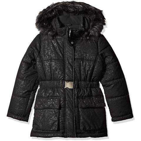 Girls black hooded winter coat with faux fur and embossed design