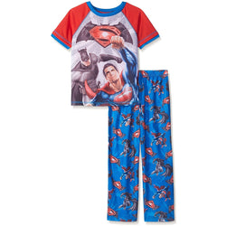 Boys two-piece pajama set with Batman vs Superman short-sleeve crew neck t-shirt and matching blue sleep pants with allover Batman and Superman logo