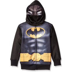 Black and yellow Batman zipper hoodie sweatshirt with costume hood featuring Batman mask.