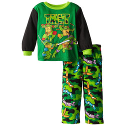 Boys two piece Teenage Mutant Ninja Turtle set with long-sleeve sleep shirt and matching green camo sleep pants