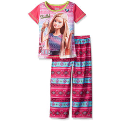Matching pajama set for girls with pink Barbie selfie design short-sleeve t-shirt and bohemian teal and pink pajama pants.