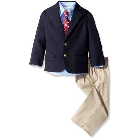 Boys three piece suit set with blue long-sleeve collared button-up dress shirt, navy blue front-button blazer jacket, tan khaki pants, and matching clip-on red tie