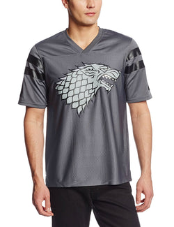 Model wearing gray Stark direwolf short-sleeve football jersey with Stark direwolf printed on chest and black athletic stripes on sleeves