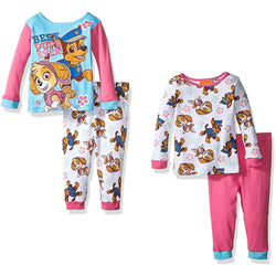 4 piece Paw Patrol mix and match pajama set with blue and pink long-sleeve shirt and matching pink and blue pants. Second set is white with pink Paw Patrol character allover print.