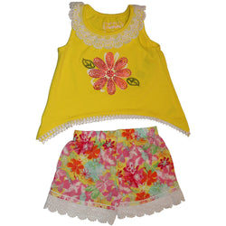 Two piece short set with yellow sleeveless shirt with embellished flower design and eyelet collar trim with matching floral patterned shorts with lace trim
