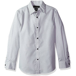 Men's long-sleeve white patterned button-up collared dress shirt