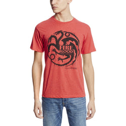 Model wearing red short-sleeve crew neck t-shirt with House Targaryen three-headed dragon and Fire and Blood text