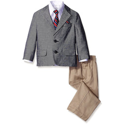 Boys three piece suit with white button-up collared long-sleeve dress shirt, gray sportscoat jacket and khaki dress pants with matching red tie