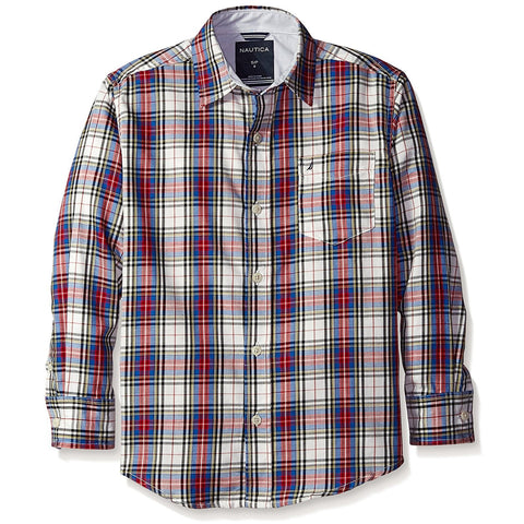 Boys long-sleeve collared button-up shirt in red and white plaid design