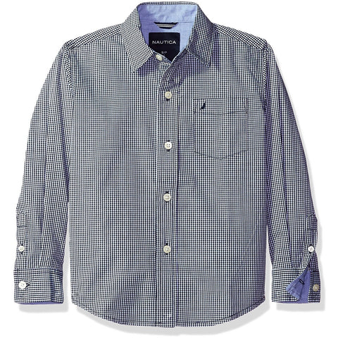 Boys long-sleeve collared button-up shirt in blue gray