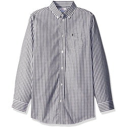 Boys long-sleeve, collared, button-up dress shirt in black and white stripes