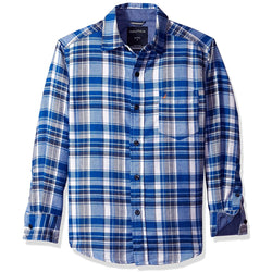 Boys long-sleeve collared button-up shirt in blue and white plaid design