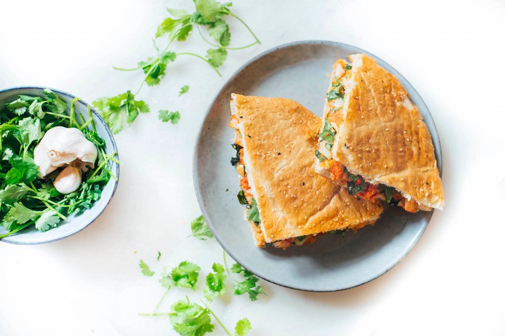 Nutorious chili sambal peanut butter grilled sandwich with kimchi