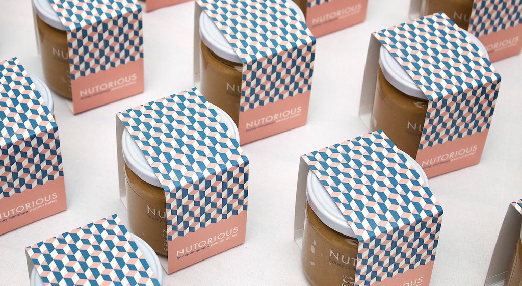 NUTORIOUS peanut butter honey cinnamon packaging design