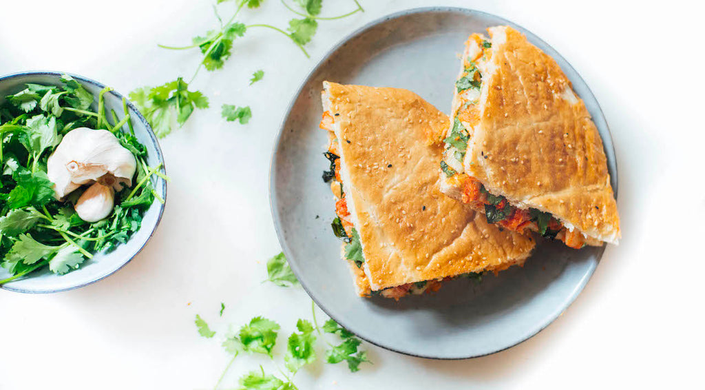 Nutorious peanut butter kimchi grilled sandwich