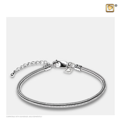 "Bracelet: 9"" Snake (Sterling Silver .925) - Rhodium Plated - AC1001"