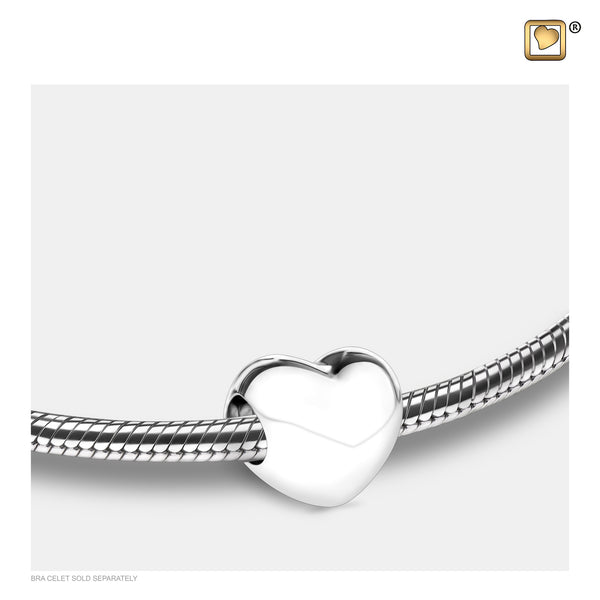Bead: LoveHeart - Rhodium Plated - BD2000