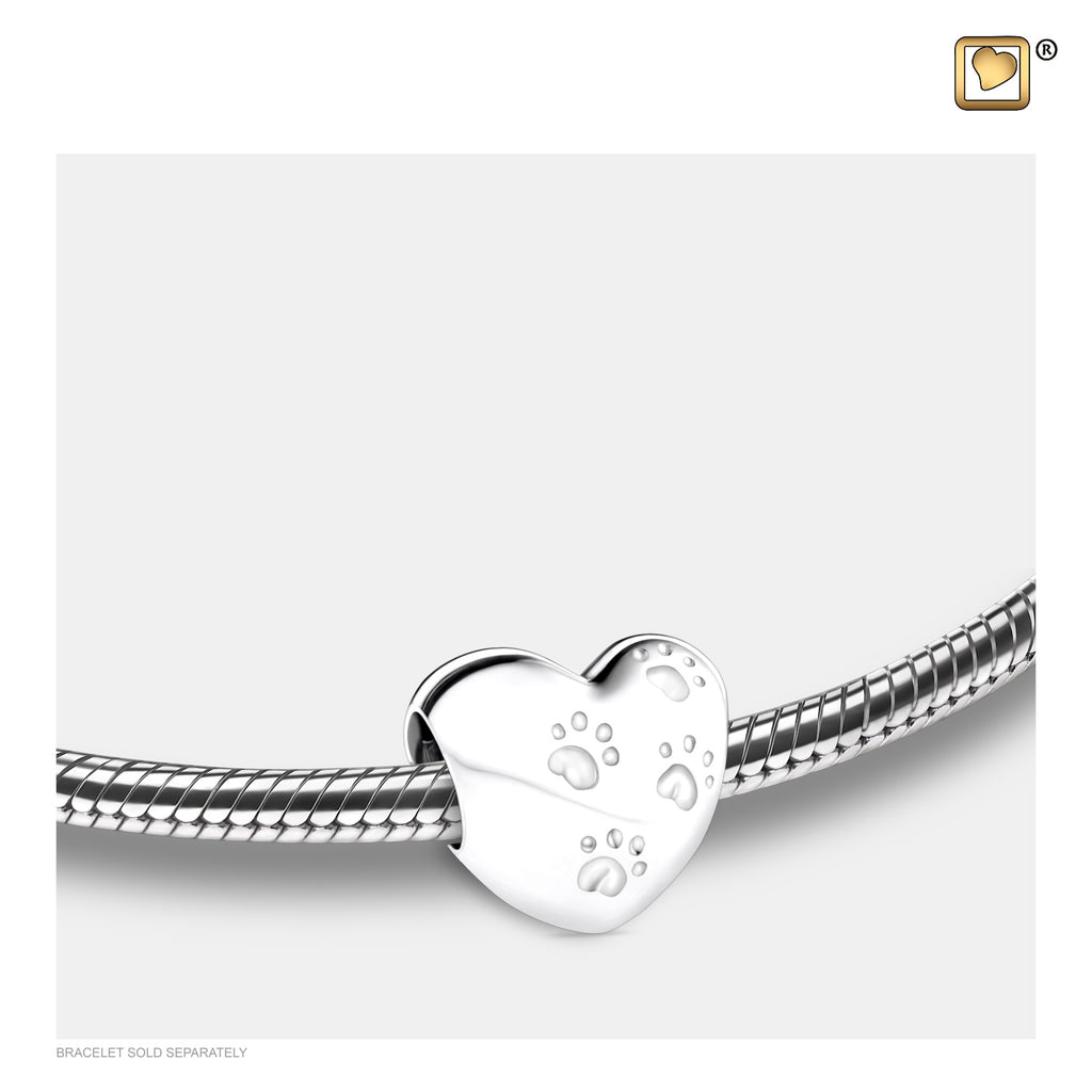 Bead: LoveHeart w/Paws - Rhodium Plated - BD2001