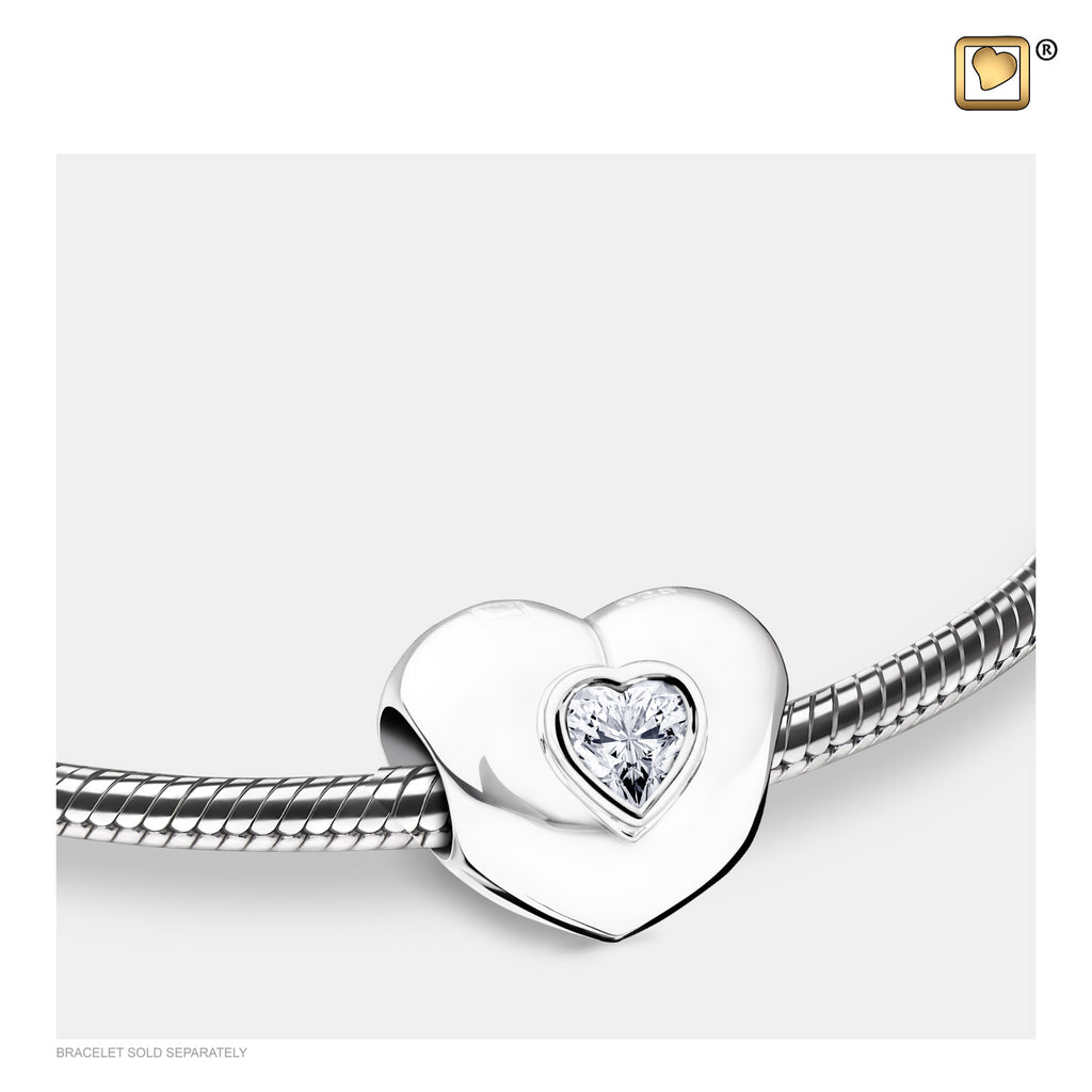 Bead: Heart to Heart - Rhodium Plated w/Clear Crystal - BD2003