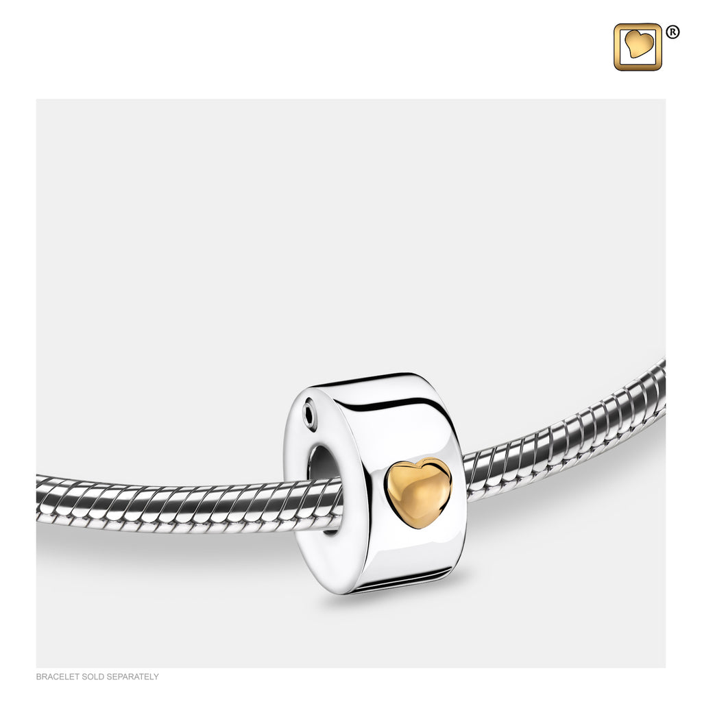 Bead: Glowing Heart - Rhodium Plated Gold Vermeil Two Tone - BD2013