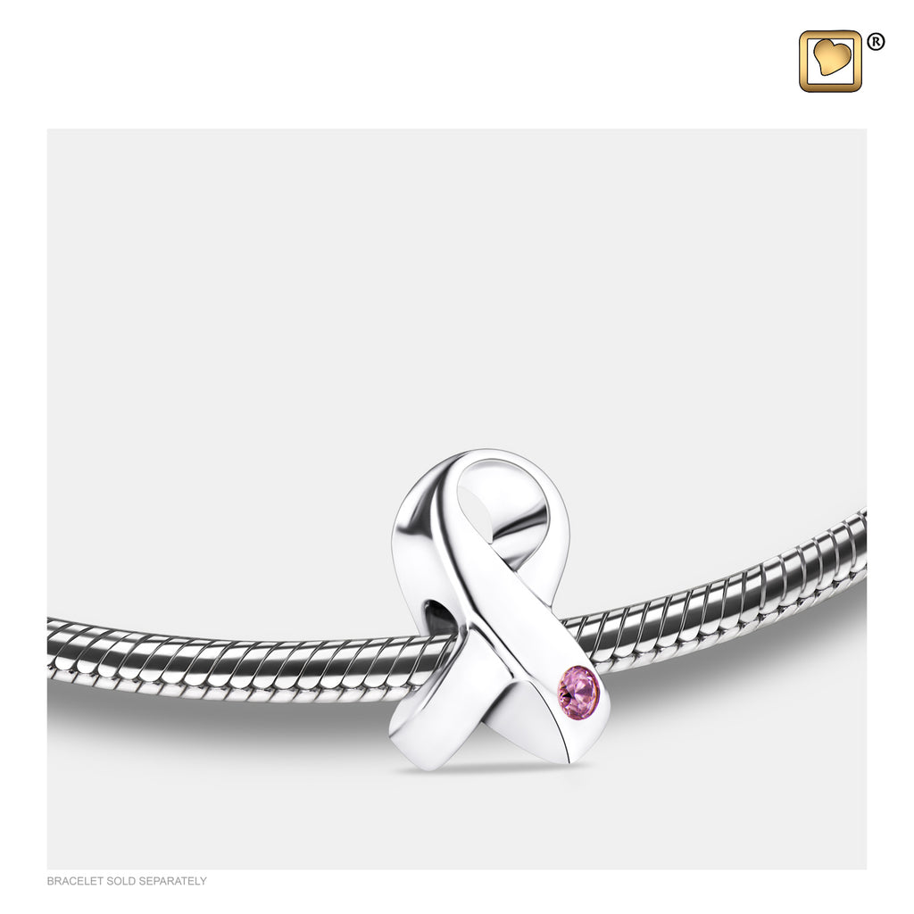 Bead - Awareness Silver (Polished w/Pink Crystal) - BD2070