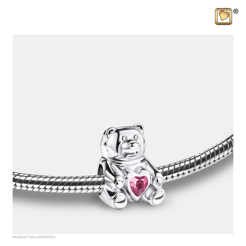 Bead: CuddleBear - Rhodium Plated w/Pink Crystal - BD2080