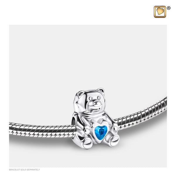 Bead: CuddleBear - Rhodium Plated w/Blue Crystal - BD2081